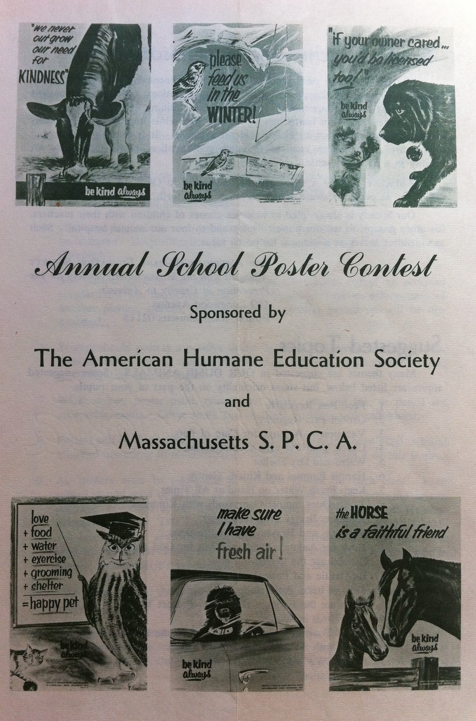 essay and poster competitions be kind a visual history of brochure for annual poster contest sponsored by the american humane education society